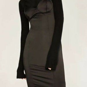 Zara basic black satin dress